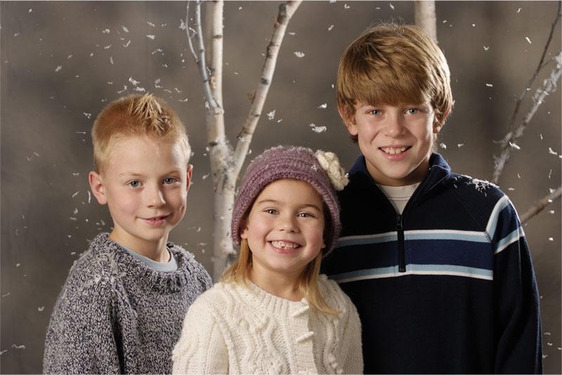 children studio portrait in winter